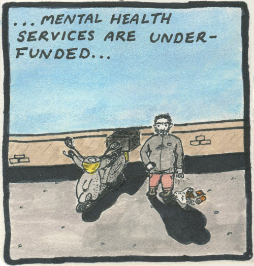 Text: ...mental health services are under-funded... Image: Still staring into space, the man releases one of his clasped hands, causing the carrier bag to fall to the ground, spilling its contents. In his other hand, he has tentatively begun to bring his phone up towards him.