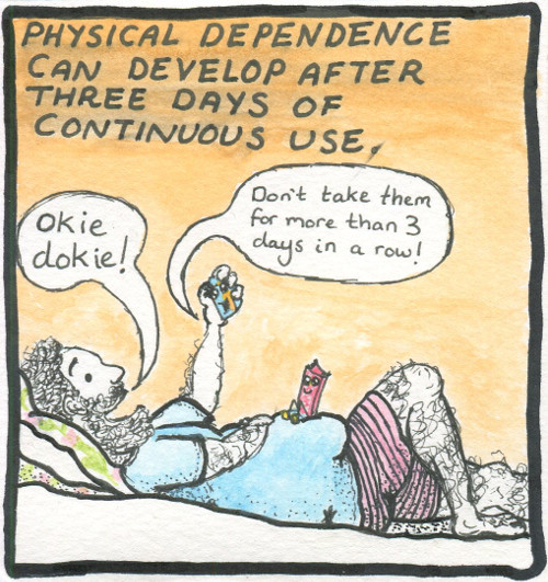 Text: Physical dependence can develop after 3 days of continuous use. Image: The man lies on his bed in boxer shorts and a t-shirt. He holds the little box of co-codamol aloft while the Nurofen Plus sits patiently on his chubby belly. Co-codamol: 'Don't take for more than 3 days in a row!' Man: 'Okie dokie!'